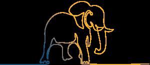Elefant Blau Gelb - Deco